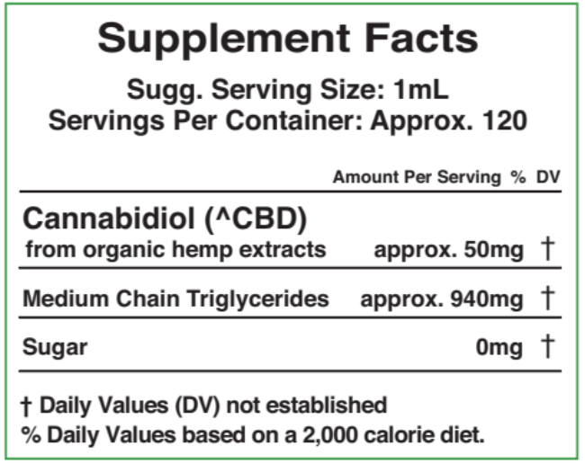 6000mg - 120ml ZERO THC - Cherry Flavor Supplement Fact