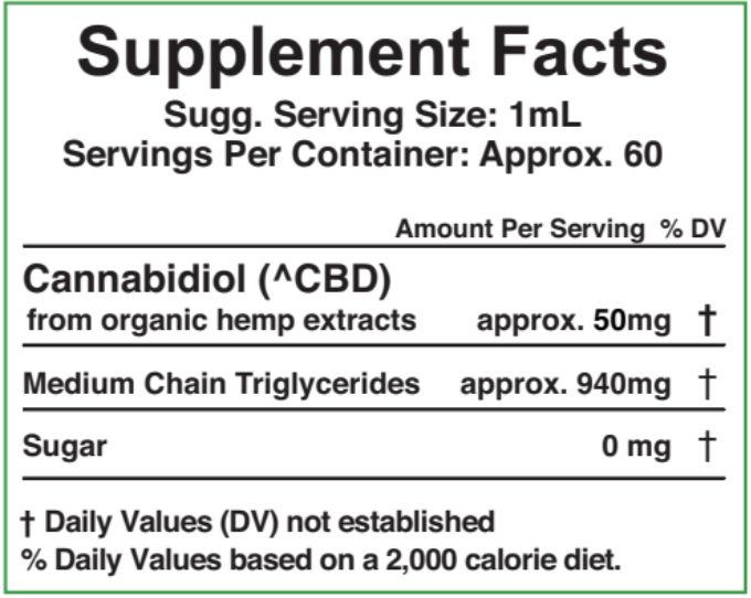 3000mg - 60ml ZERO THC - Cherry Flavor Supplement Fact