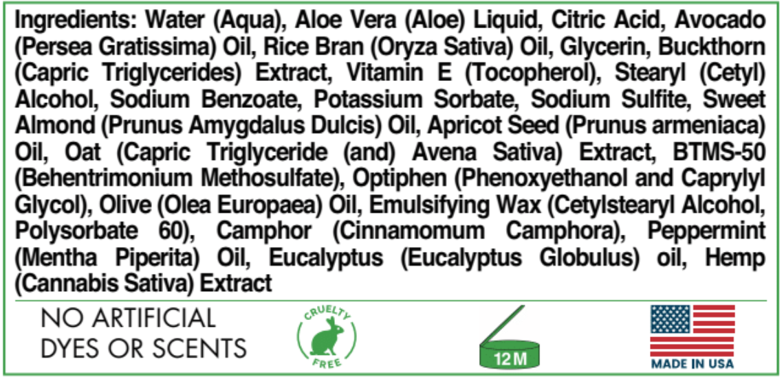 Supplement Facts for the 100mg - 2oz Select Soothing Cream Hemp Oil CBD