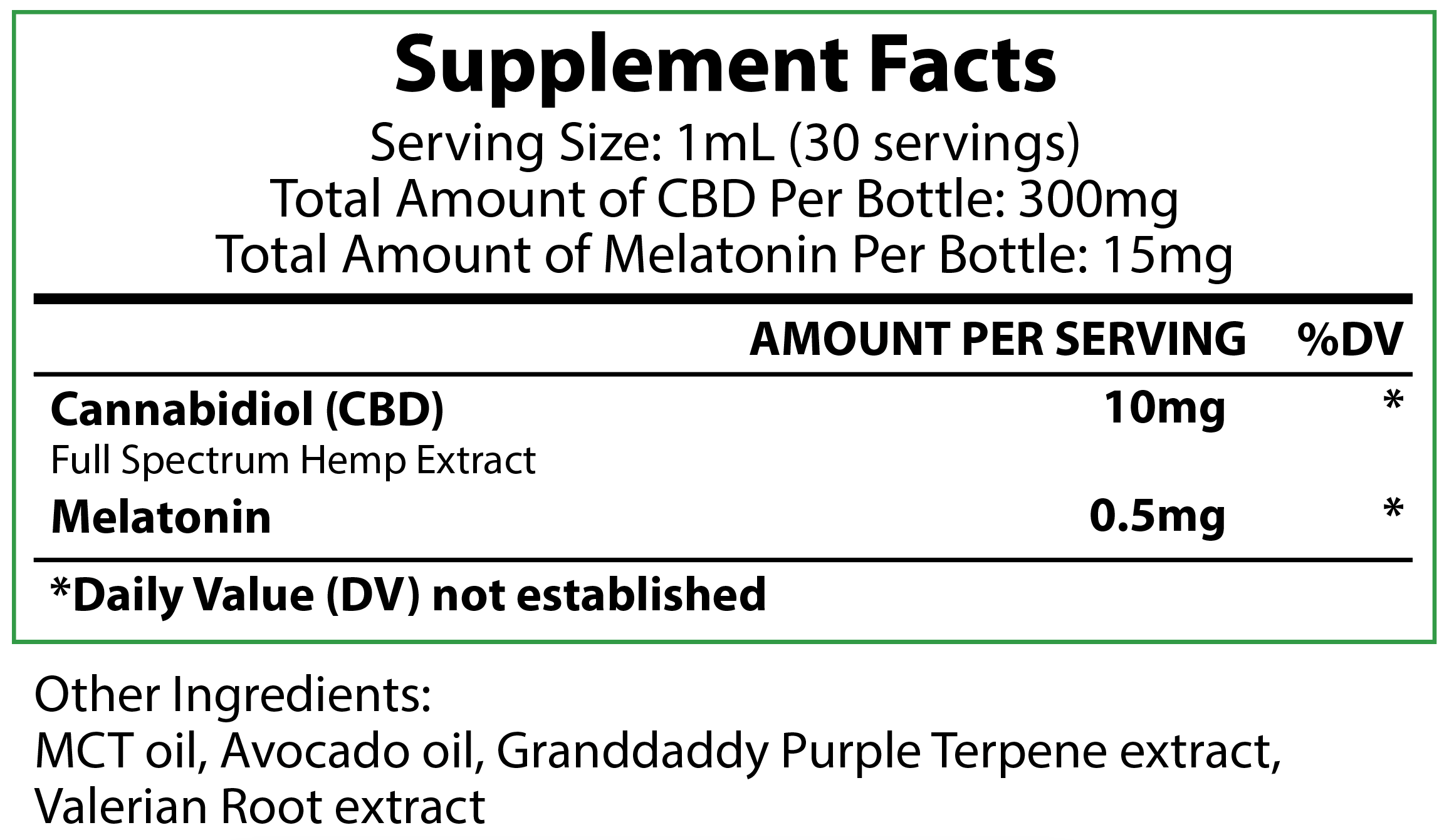 300mg Sleep Drops supplement facts label